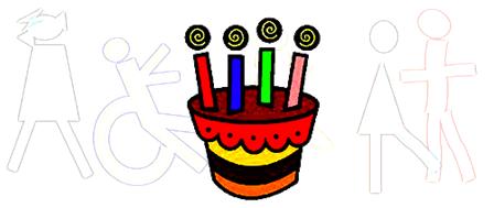 Tarta con cuatro velas sobre marca de agua de la cabecera de la bitácora