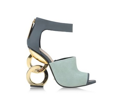 Kat Maconie Blue shoes with gold ring heels
