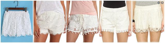 Romwe Elastic Waist Lace Shorts $11.67 (regular $22.08)  Charlotte Russe Pull On Eyelash Lace Shorts $15.99 (regular $22.99)  Charlotte Russe High Waisted Pop Pom Lace Shorts $20.00 (regular $22.99)  BB Dakota Hartley Lace Shorts $42.00 (regular $60.00)  Love Sadie Lace Shorts $42.50 (regular $85.00)