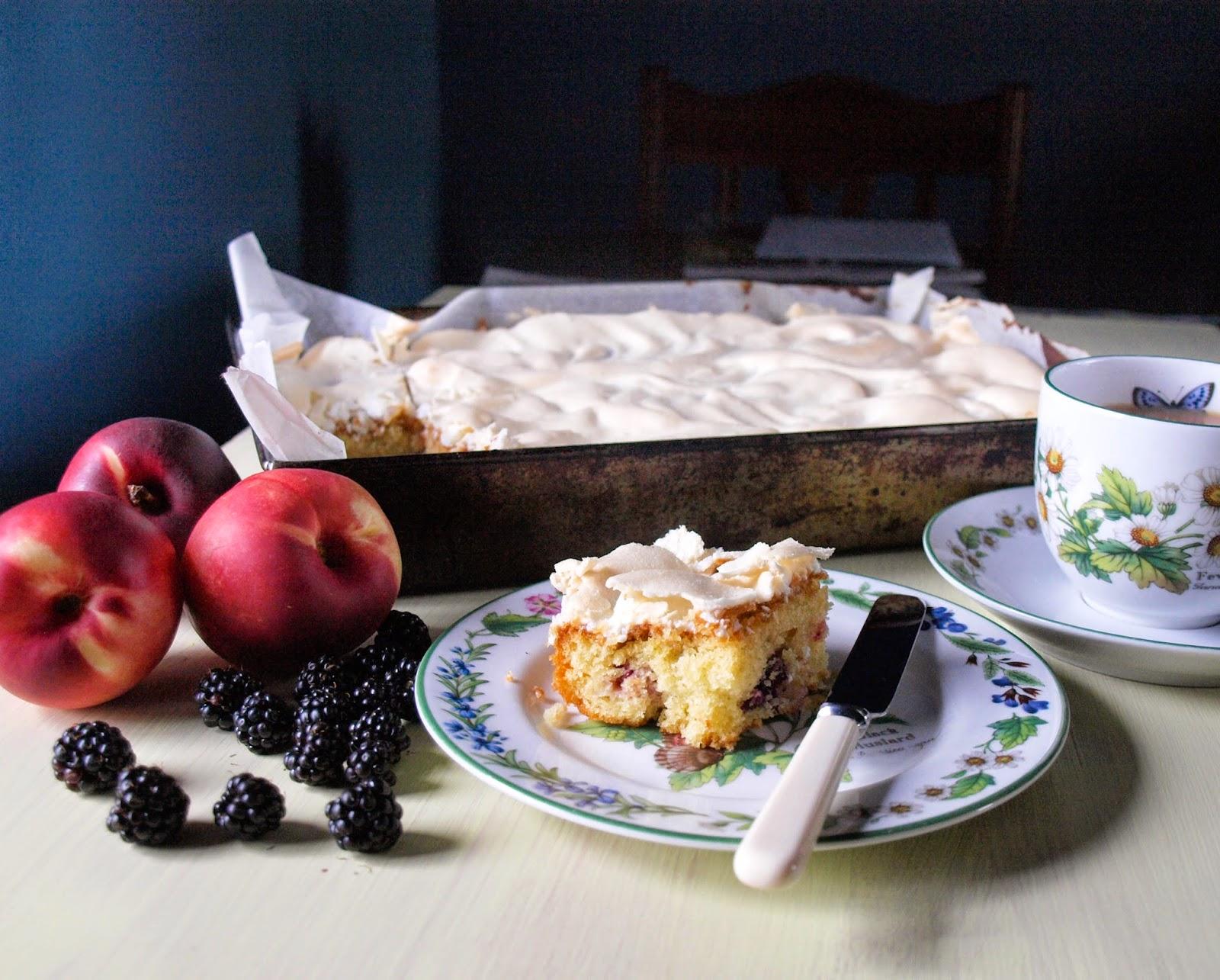 peach and bramble meringue slice