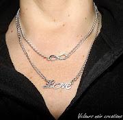 collana simbolo INFINITO e scritta LOVE in argento tibetano creata a mano