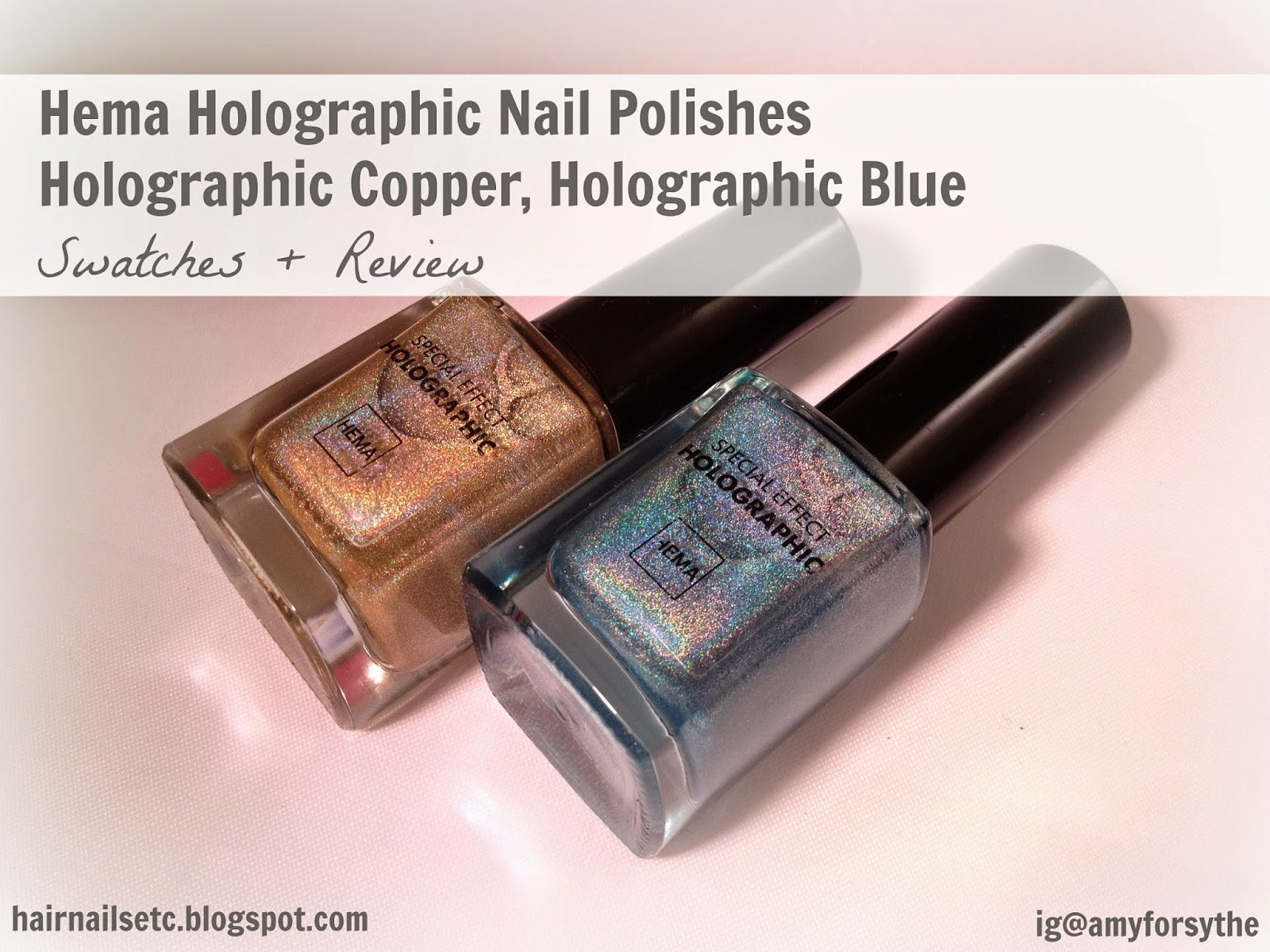 Hema, holographic, nail polish, 52, holographic copper, 53, holographic blue, swatches and review