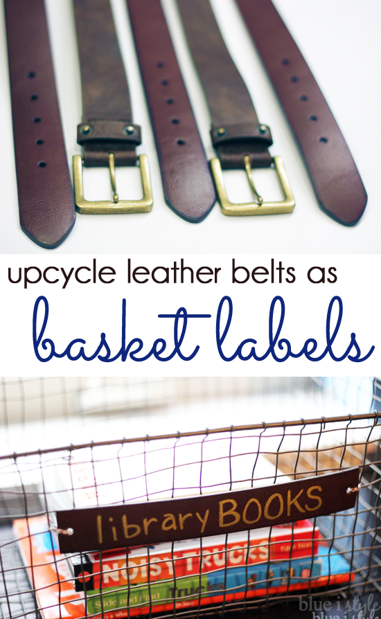 Leather belts upcycled as basket labels