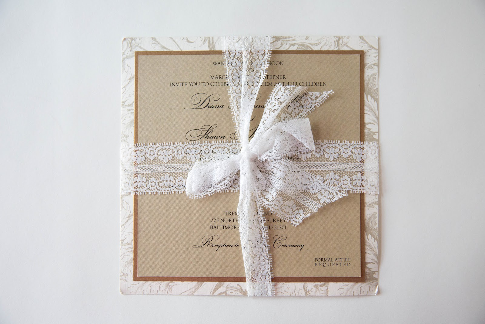 Lace Ribbon Wedding Invitation • Lace Wedding Invitation Kindly ...