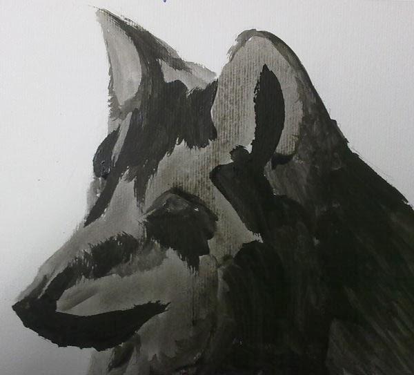 dibujo de cabeza de lobo en acrilico