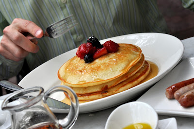 Pancakes with Mixed Berry Compote - Bisto du Midi - Boston, MA | Taste As You Go