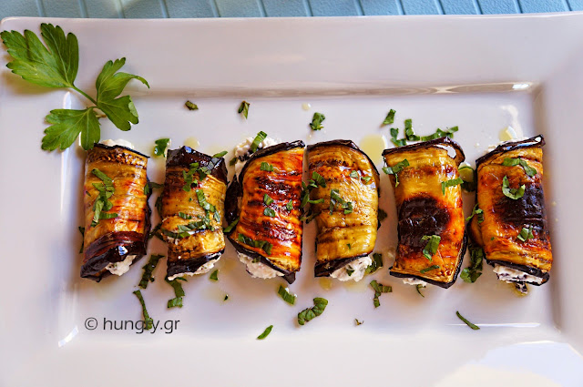Eggplant Rolls with Feta Cheese
