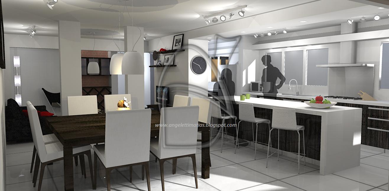 Arquitectura digital remodelaci n living cocina comedor for Planos de cocina living comedor