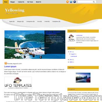 Yellowing blogger template. magazine style blogspot template