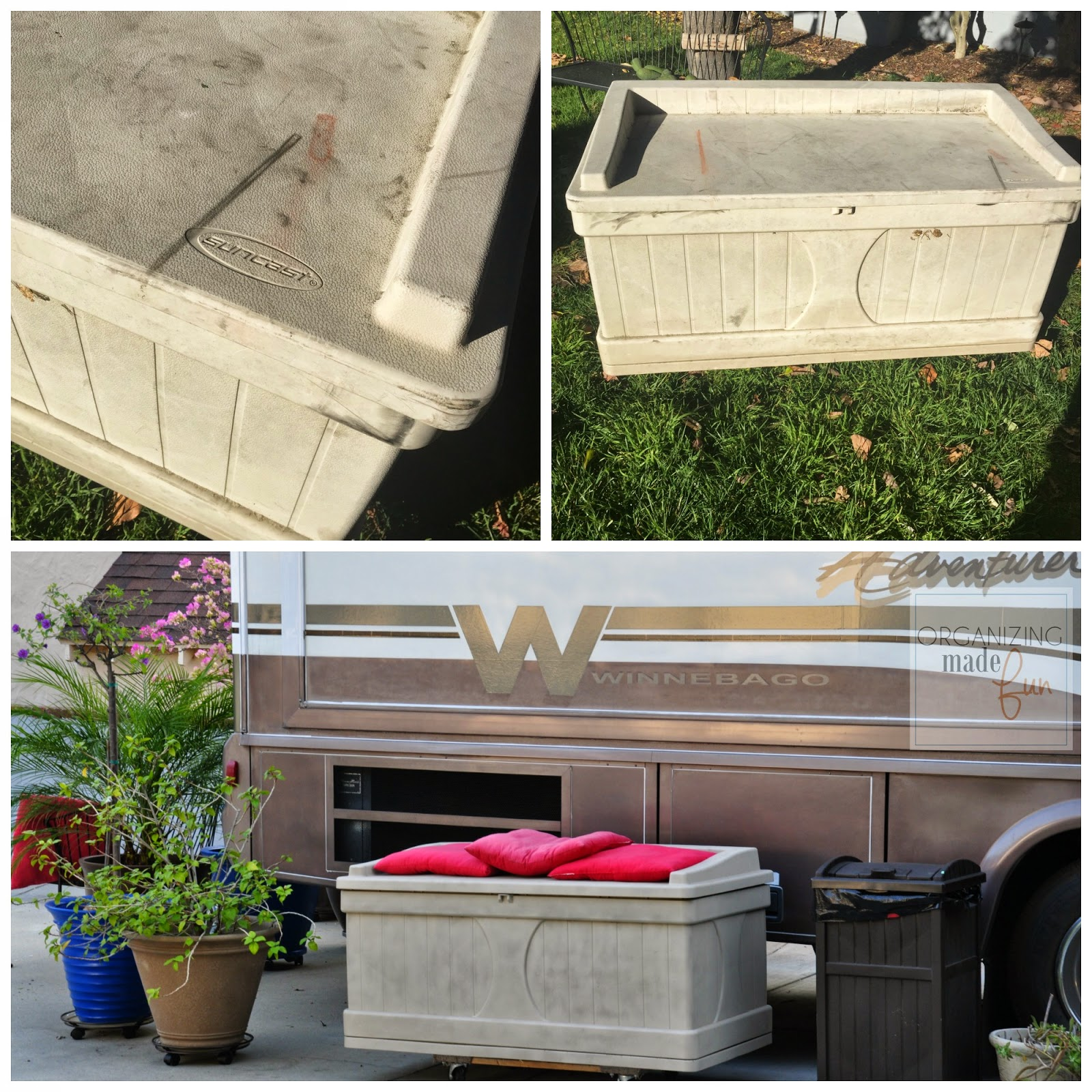 Plastic Storage bench revived with spray paint :: OrganizingMadeFun.com