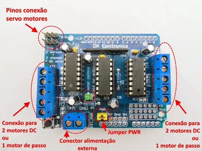 Motor Shield L293D - Detalhe conectores
