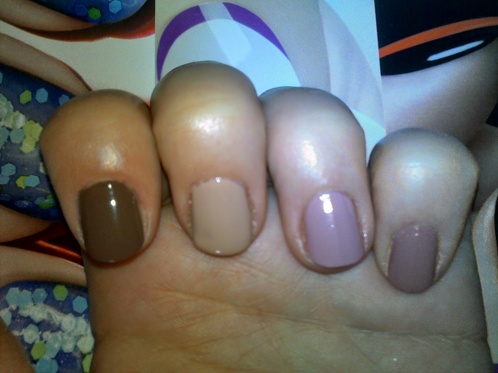 Nude nail polishes swatches from Radiant and L'oreal