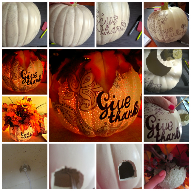 How To Make A Lighted Sharpie Zentangle Fall Pumpkin Vase Thanksgiving Craft Tutorial DIY One Savvy Mom onesavvymom blog nyc