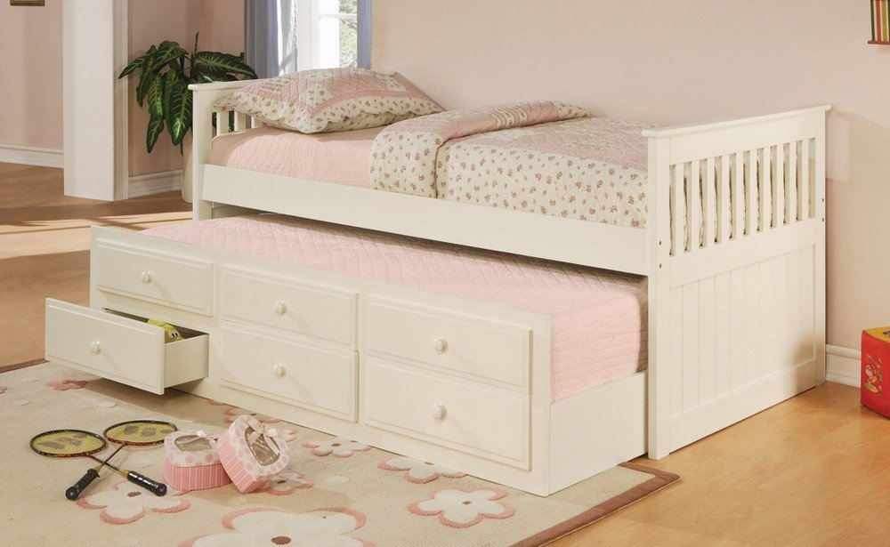 Twin bed with pull out slide out trundle bed underneath for Pull out bed
