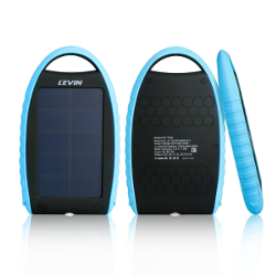 Levin™ [2015 New Version] Solar Charger Battery 7000mAh With Bluetooth Shutter Dual USB (5V 2.1A +5v1A) Solar Panel Charger Rain-resistant and Dirt/Shockproof Dual USB Port Portable Charger Backup External Battery Power Pack for iPhone iPad Android Phone Windows Phone Google Phone and Other Electronic Devices