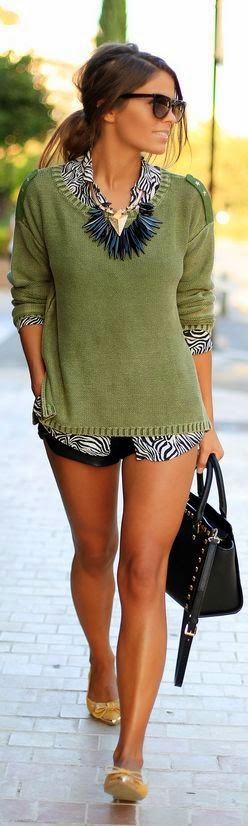 Green Very Cute women outfit clothing style short heels handbag khaki sunglasses summer nice