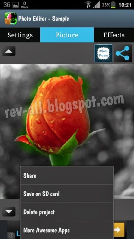 Contoh proses edit foto dan menu Photo editor a.k.a Efek foto - Aplikasi android merubah warna atau memberi efek dengan mudah (rev-all.blogspot.com)