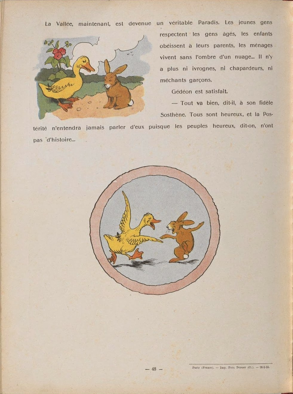 cartoon duck and rabbit illustrations from children's book