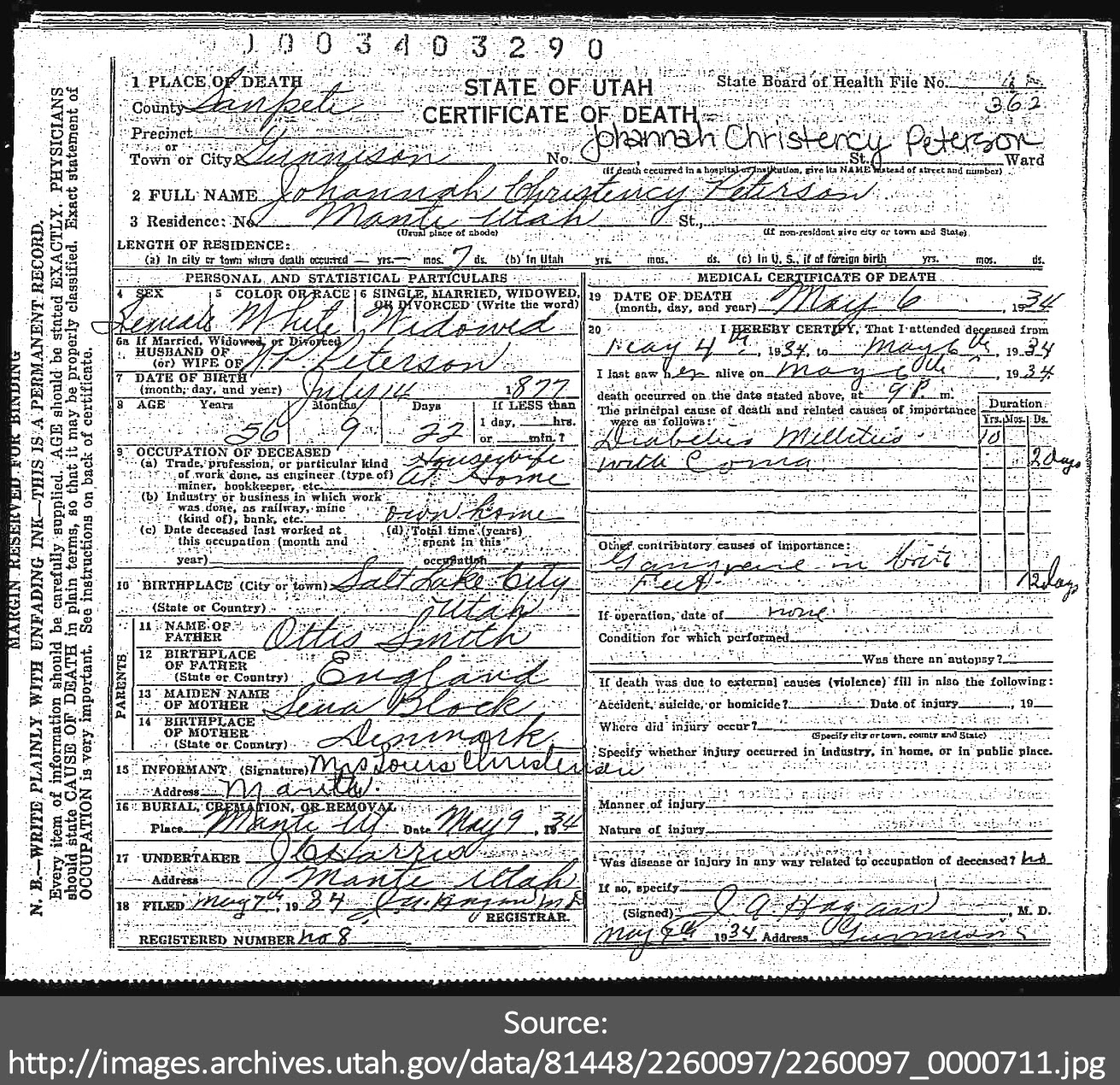 Death Certificate Of Johannah Christency Peterson Johanna