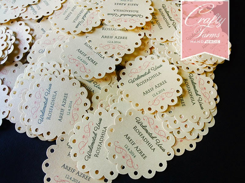 Fancy Round Scallop Wedding Party Favour Tag Kad Kahwin Walimatul Urus