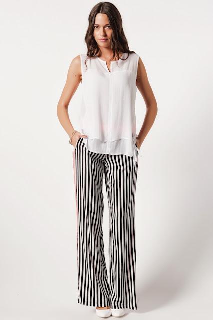 bol kesim siyah beyaz çizgili batik pantolon