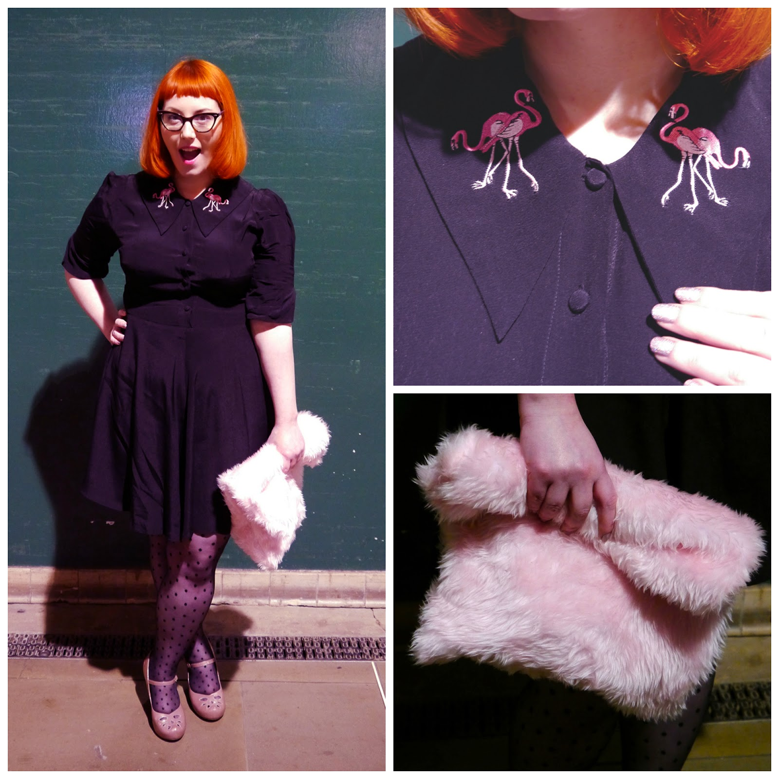 Party Outfit, what Helen wore, Flamingo Dress by Coco Fennell, Pink Fluffy Clutch, pink Clarks shoes, Polka Dot Tights, Scottish Blogger, Night out, Party