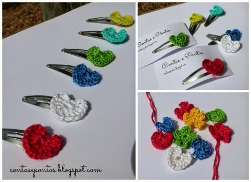 crochet hair clips - tiny hearts