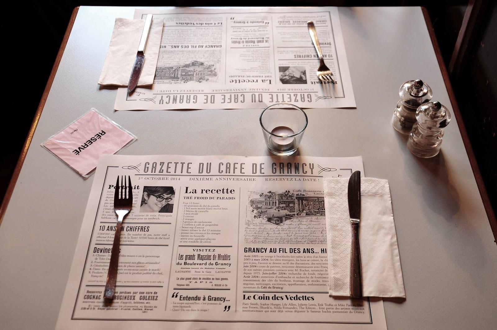 café grancy menu reserver