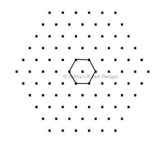 2 Triangle kolam Interlocked dots 11 x 6
