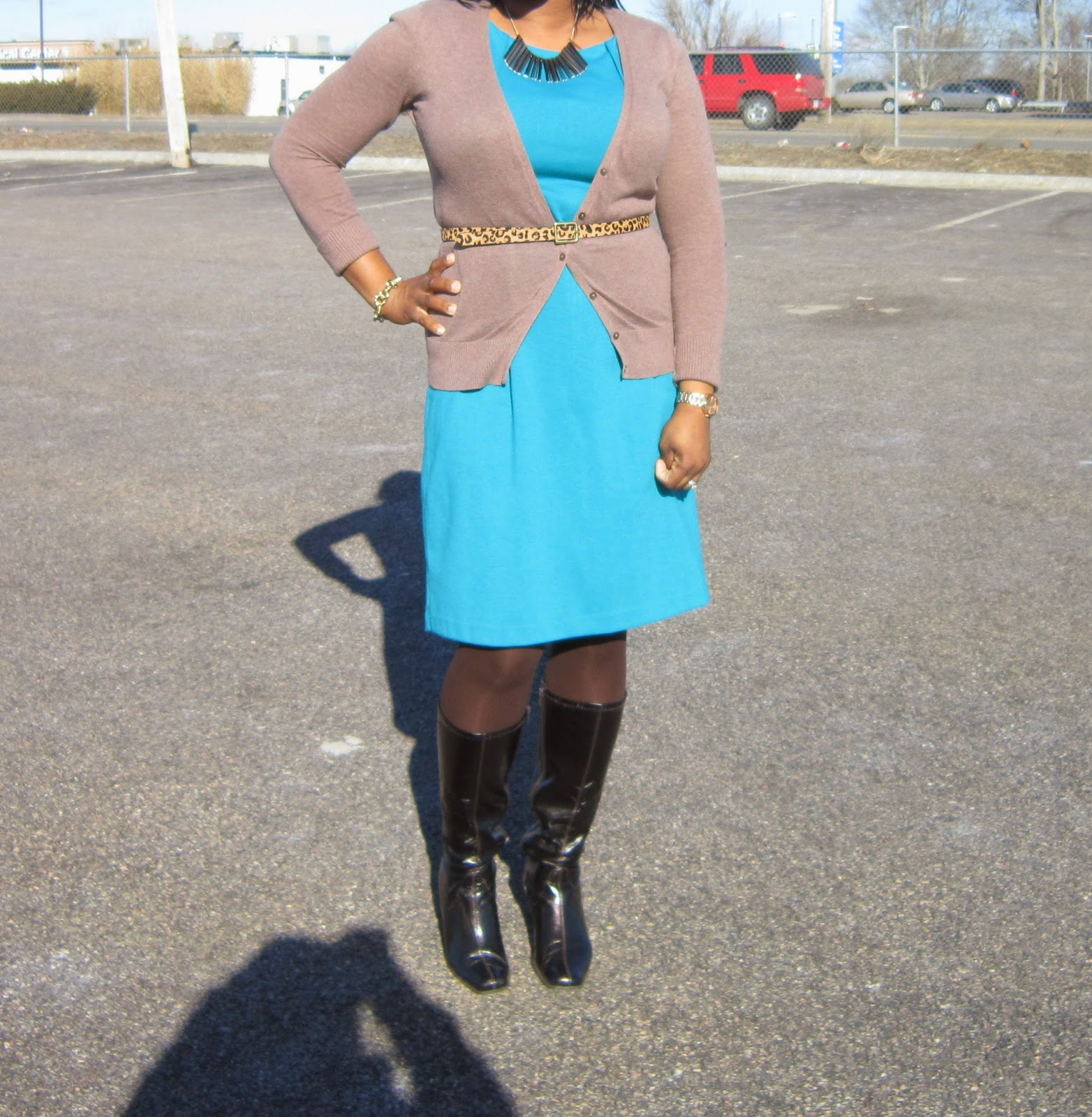 Blue dress, leopard belt, dressing an apple shape, boots and tights