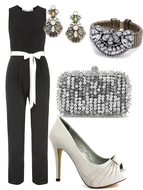 tengo una boda que me pongo, mono negro y zapatos plata