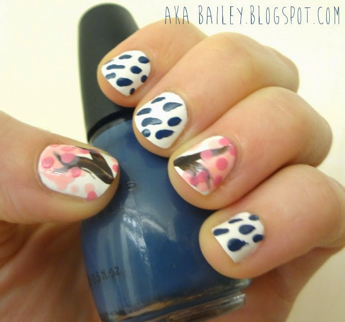 Blue rain drop nails on white background, with cherry blossom tree