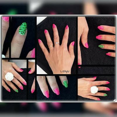 Crystal nail nail zebrato Fucsia verde