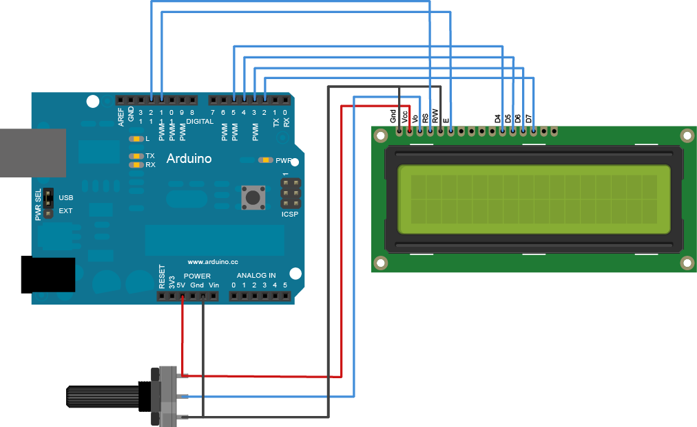 Arduino er hello world of uno lcd