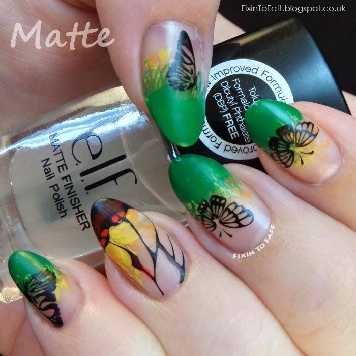 Glasswing Butterfly Nail Art Matte