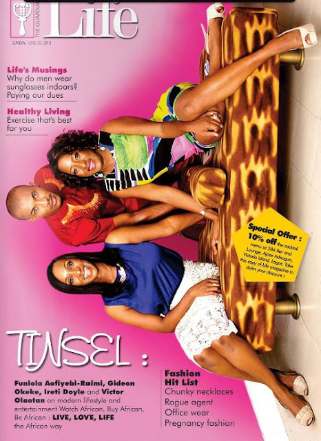 Tinsel Stars, Ireti Doyle, Funke Raimi and Victor Olaotan Cover Guardian Life Magazine