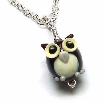 Lampwork glass owl bead necklace