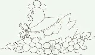 risco galinha estilo country para pintura em tecido