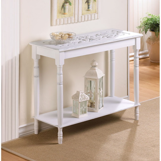 fascinating white shabby chic end tables along with unique art on top and bookshelf