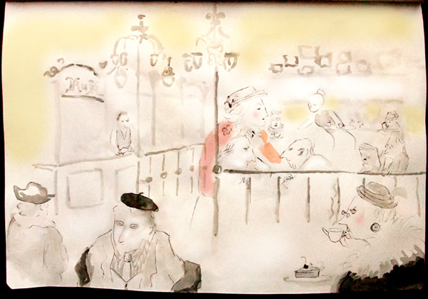 KuK Kaffeehaus patrons, Darmstadt, 2011 watercolor sketch