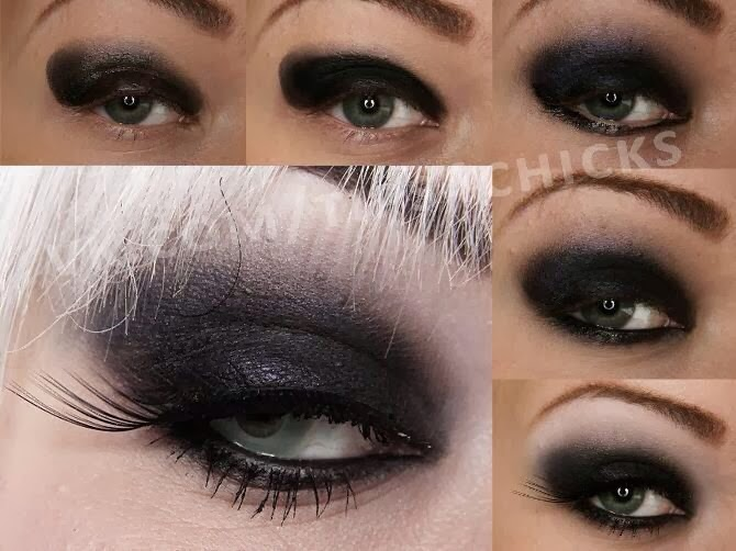 tutoriel maquillage sombre pour yeux bleu, fard à paupières et contour des yeux gris foncé, style make up yeux bleu 2014