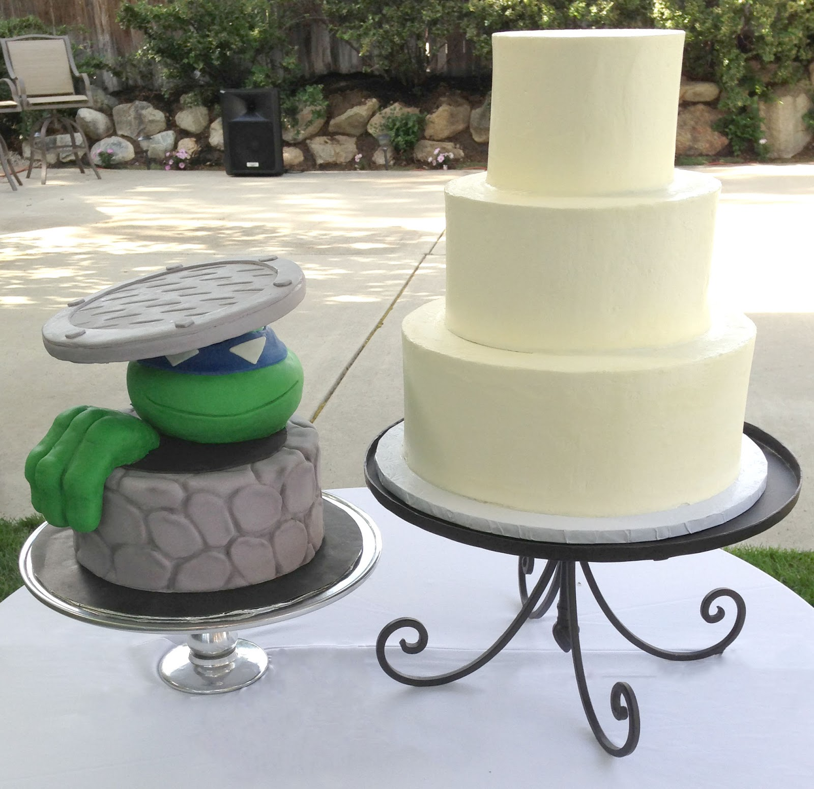 The Cake Market: White Wedding Cake and Ninja Turtle Groom\'s Cake