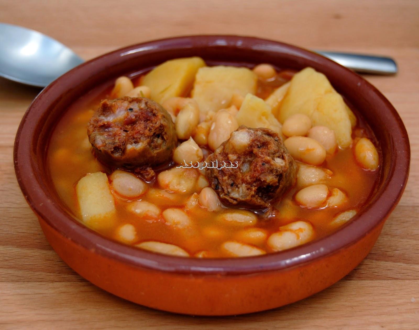 Potaje de jud as blancas con chorizo receta asopaipas - Judias con chorizo y patatas ...
