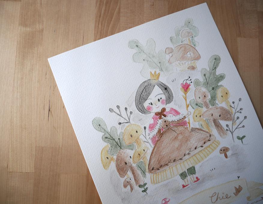 illustration,ilustración, cute mushroom, seta mona, mushroom kingdom