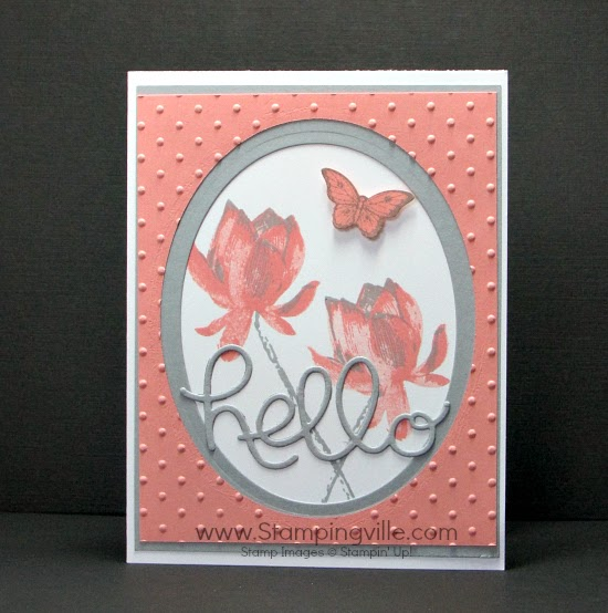 Hello card featuring the Lotus Blossom stamp set. #cardmaking #papercrafts #StampinUp