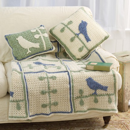 Bird on Branch Throw With Pillows - Free Pattern
