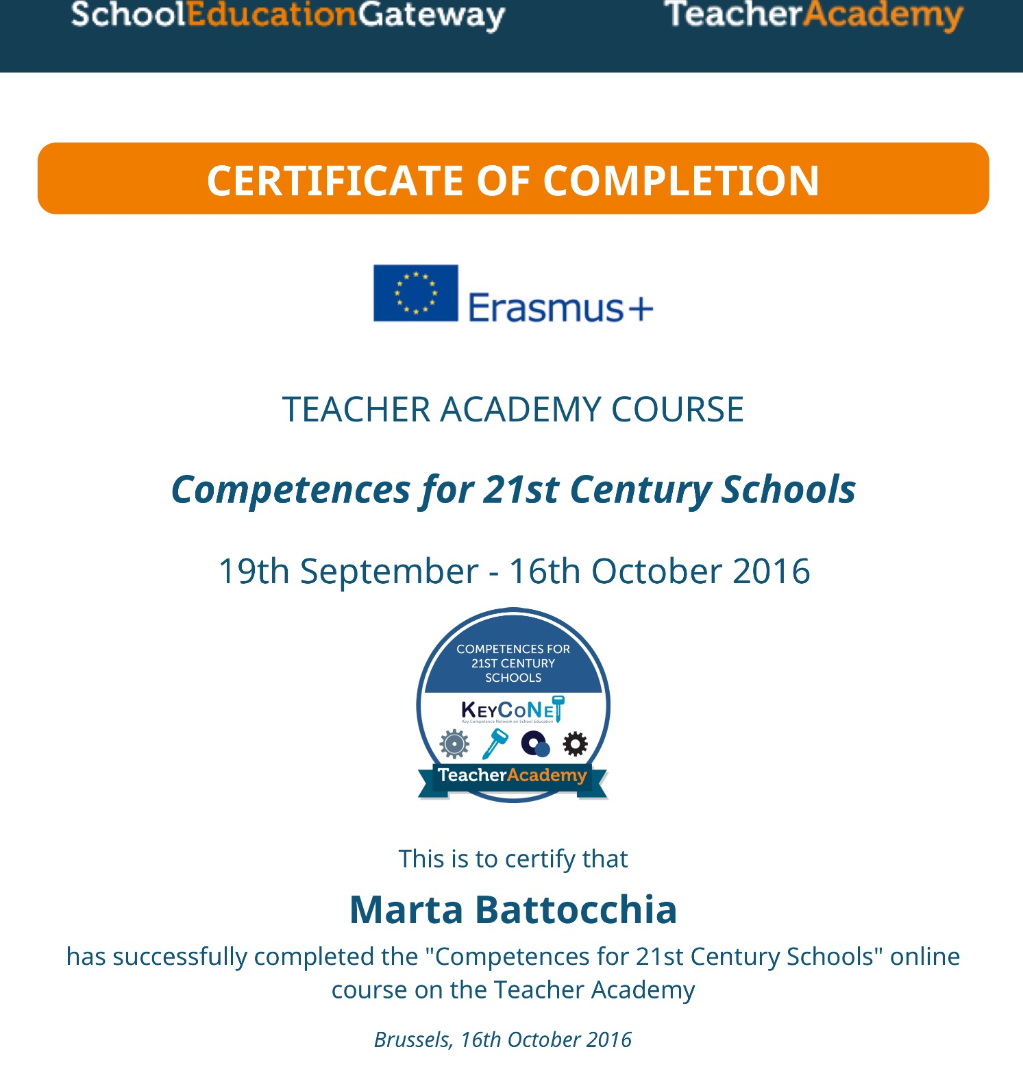 TEACHER ACADEMY CERTIFICATE