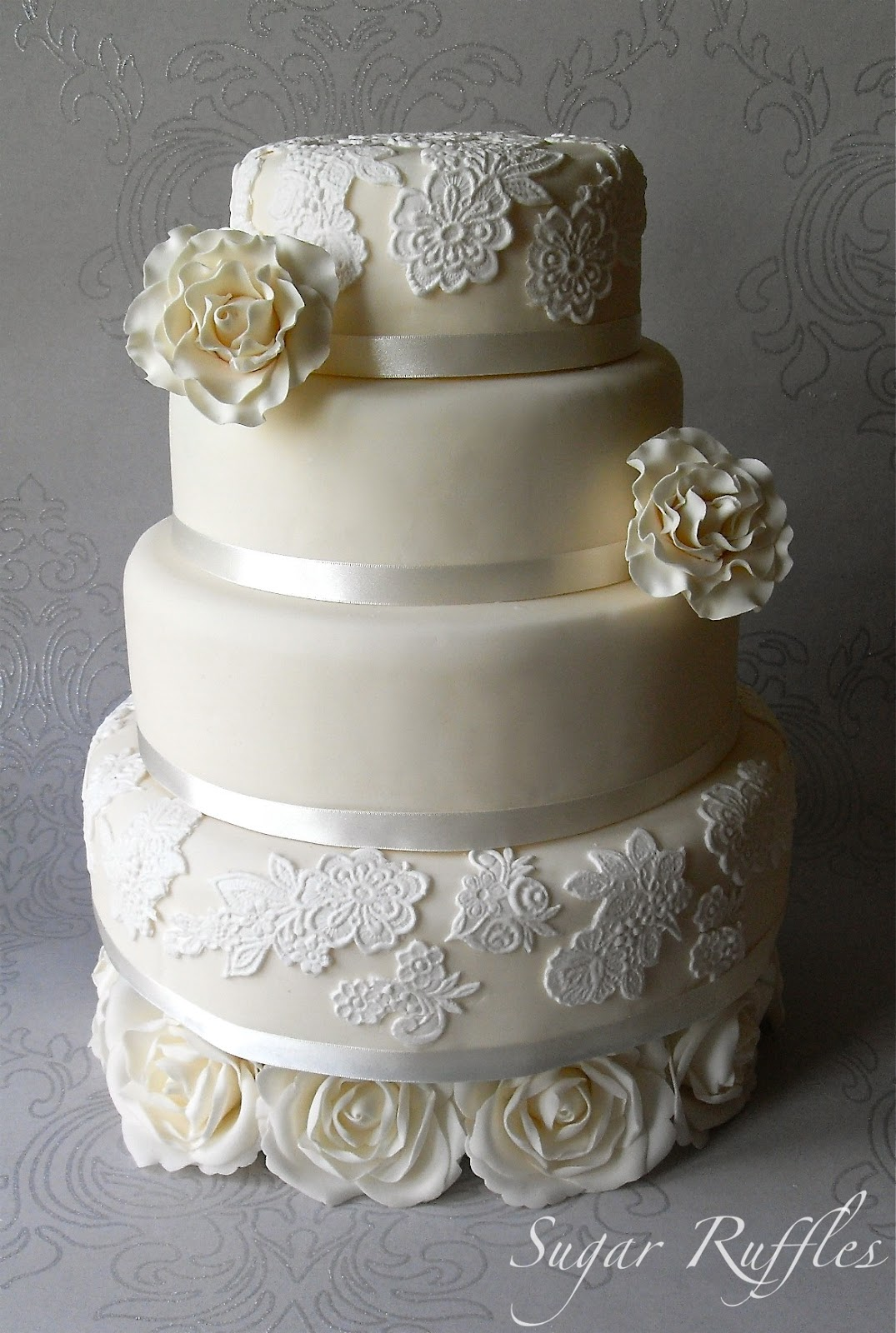 ivory roses and lace wedding cake. Black Bedroom Furniture Sets. Home Design Ideas