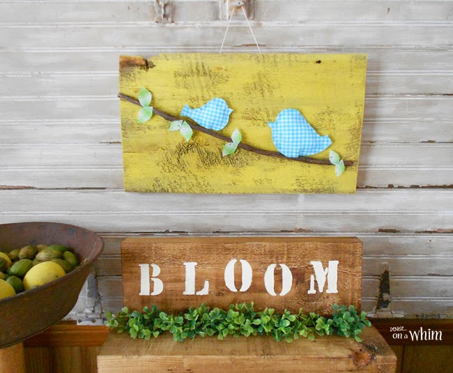 Fabric Birds on a Branch Spring Sign | Denise on a Whim