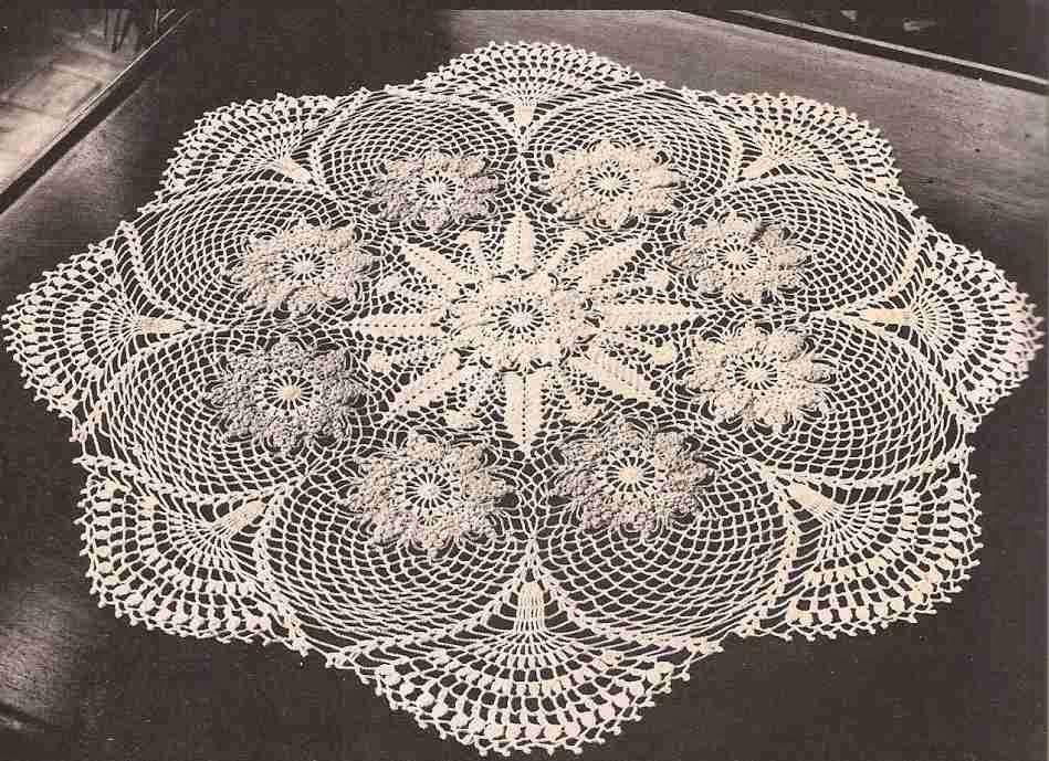 Revista 12 punto rama ganchillo centros y caminos de - Centro de mesa a crochet ovalado ...